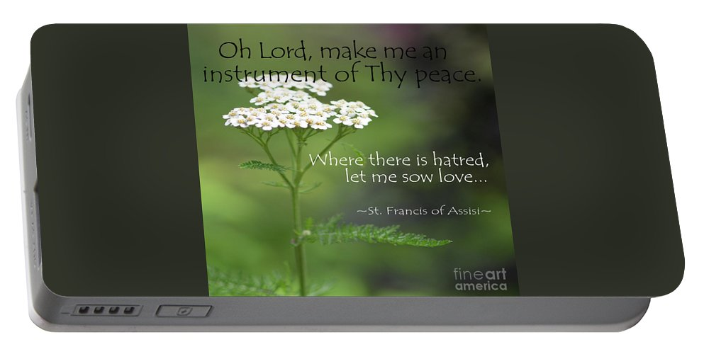 Oh Lord Portable Battery Charger featuring the photograph Peace, Francis Of Assisi by Mary Bellew