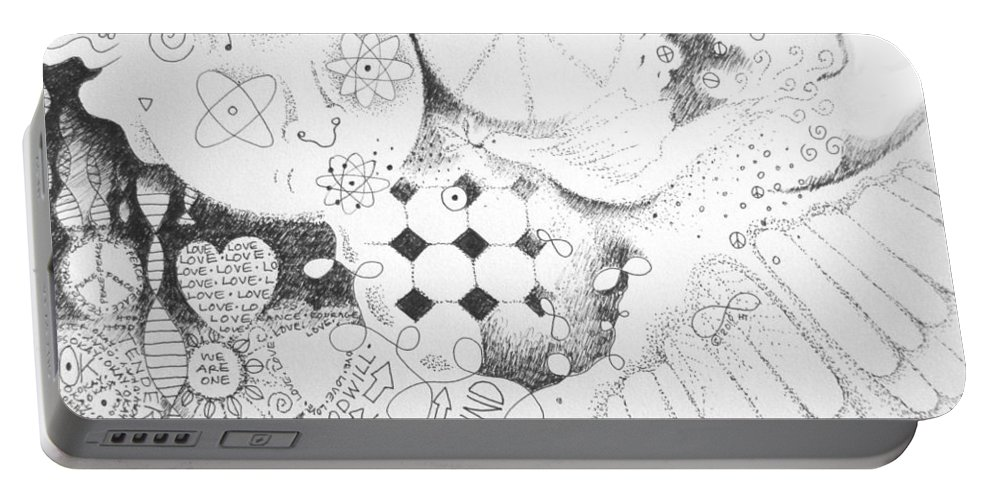 Peace Portable Battery Charger featuring the drawing Peace Rules by Helena Tiainen