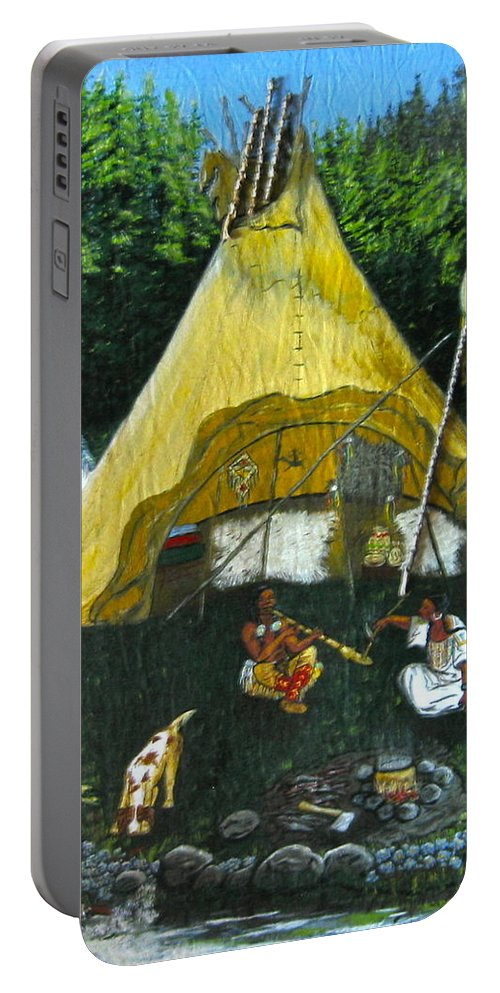 American Indians Portable Battery Charger featuring the painting Peace Smoke At Sundown by V Boge