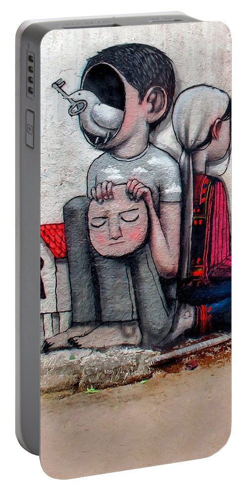 Peace Portable Battery Charger featuring the painting Malland Peace With Justice by Munir Alawi