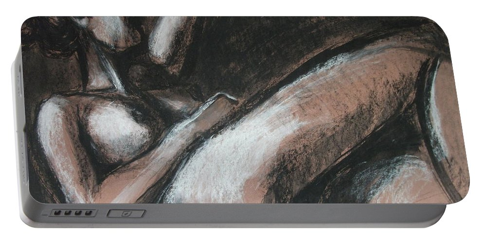 Original Portable Battery Charger featuring the drawing Peaceful by Carmen Tyrrell