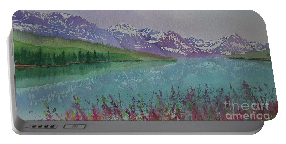 Reflection Portable Battery Charger featuring the painting Peaceful Easy Feeling by Donlyn Arbuthnot