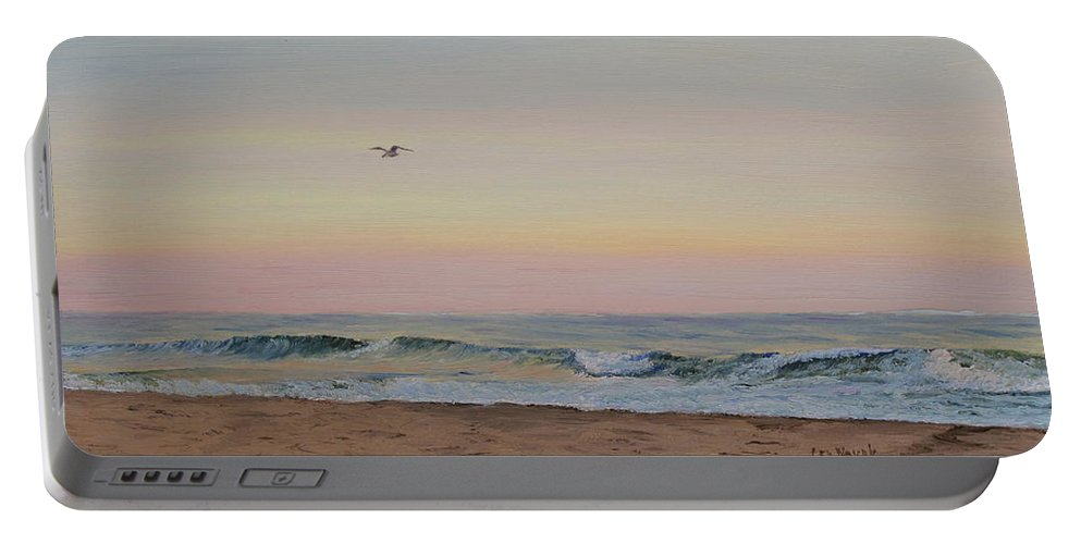 Seascape Portable Battery Charger featuring the painting Peaceful Evening by Lea Novak