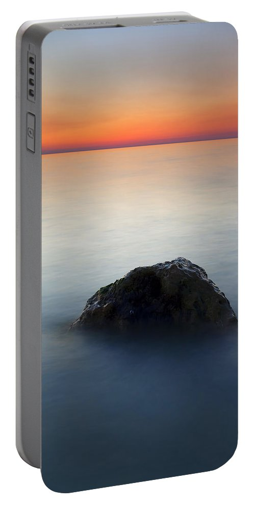 Rock Portable Battery Charger featuring the photograph Peaceful Isolation by Mike Dawson