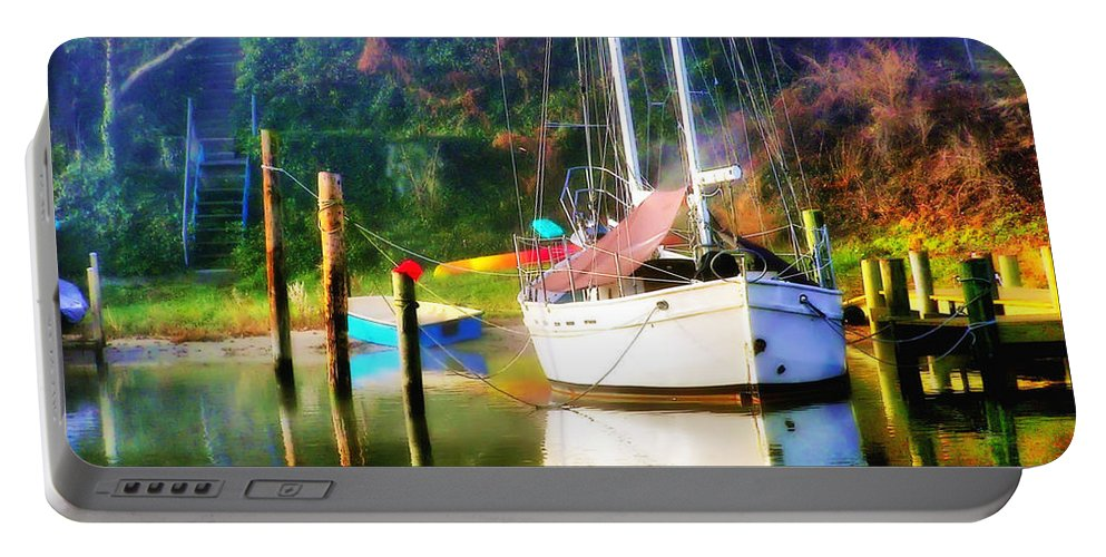 2d Portable Battery Charger featuring the photograph Peaceful Morning In The Cove by Brian Wallace