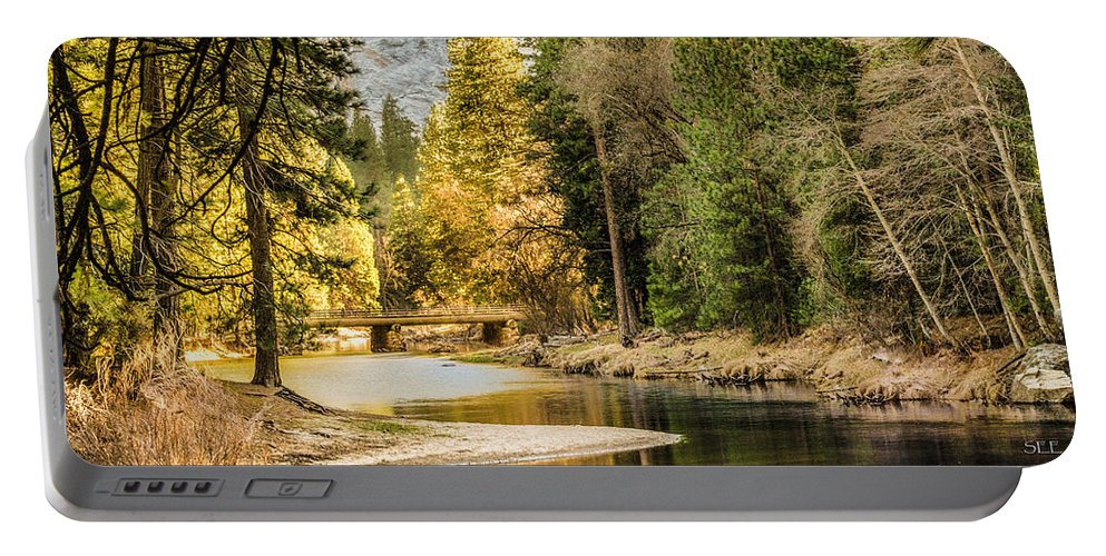 Landscape Portable Battery Charger featuring the photograph Peaceful Mountain River by Susan Eileen Evans