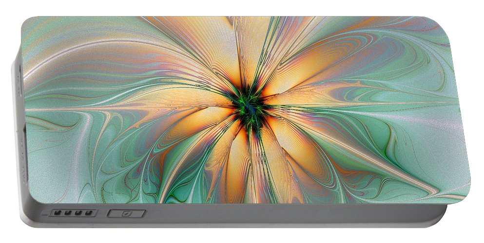 Digital Art Portable Battery Charger featuring the digital art Peach Allure by Amanda Moore