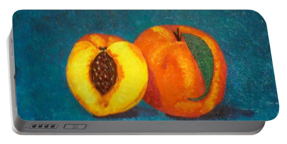Peach Portable Battery Charger featuring the painting Peach And A Half by Nancy Sisco