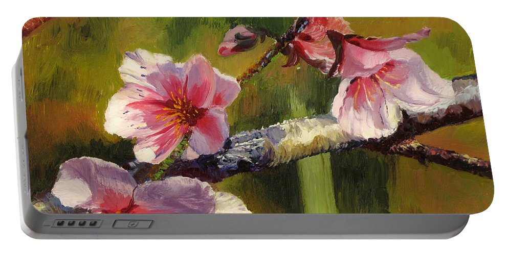 Flower Portable Battery Charger featuring the painting Peach Blossom Time by Lea Novak