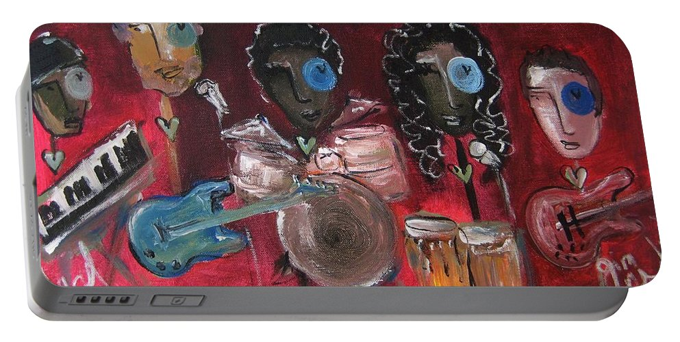 Red Portable Battery Charger featuring the painting Peaches Embry by Laurie Maves ART