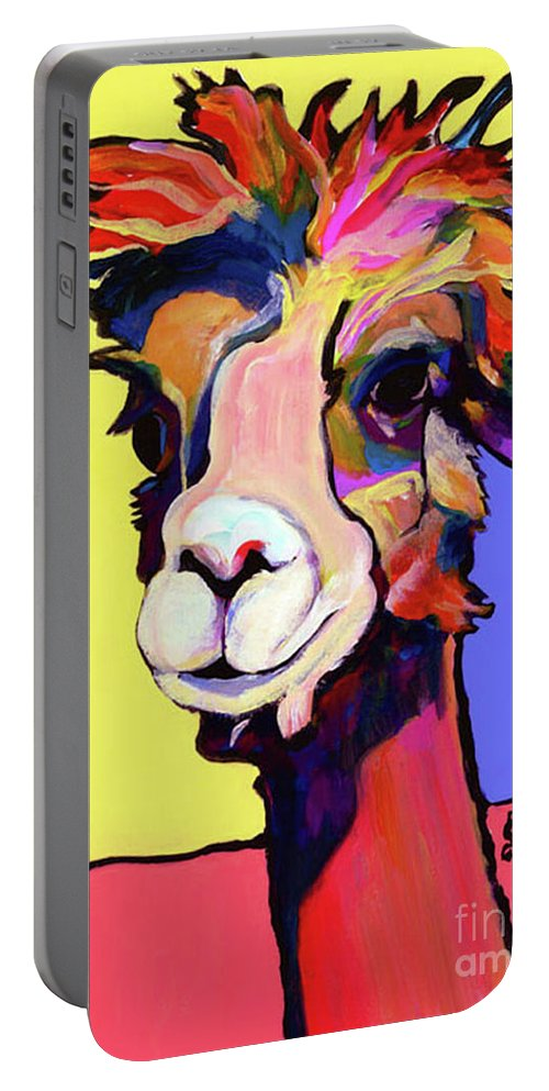 Pat Saunters-white Portable Battery Charger featuring the painting Peaches by Pat Saunders-White