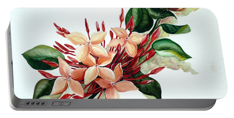 Floral Peach Flower Watercolor Ixora Botanical Bloom Portable Battery Charger featuring the painting Peachy Ixora by Karin Dawn Kelshall- Best