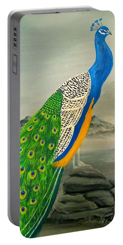 Peacock Portable Battery Charger featuring the painting Peacock In Colorado #1 by Renee G Noel