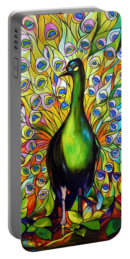 Bird Portable Battery Charger featuring the painting Peacock by Jose Manuel Abraham
