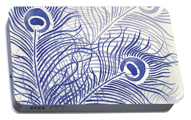 Peacock Portable Battery Charger featuring the digital art Peacock Parade by Sarah Hough