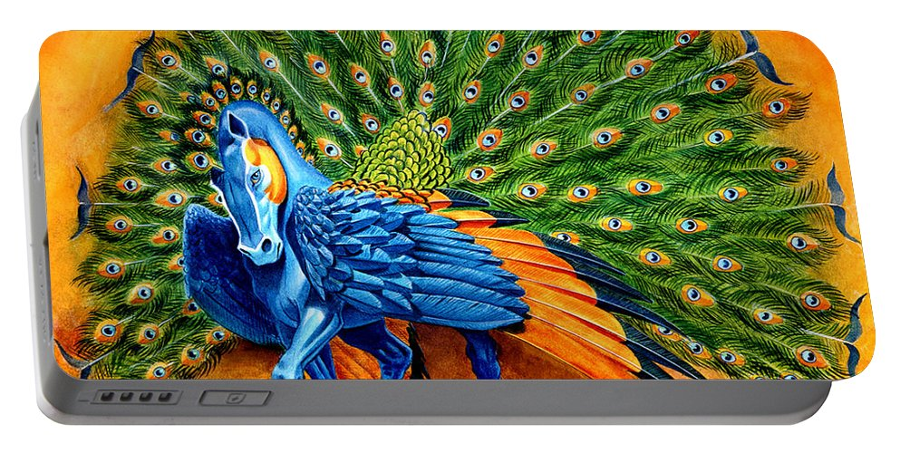 Horse Portable Battery Charger featuring the painting Peacock Pegasus by Melissa A Benson