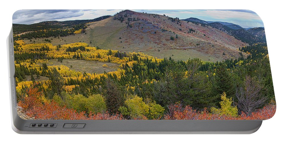 Colorful Portable Battery Charger featuring the photograph Peak To Peak Highway Boulder County Colorado Autumn View by James BO Insogna