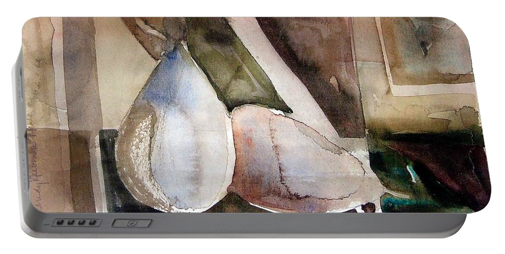 Pear Portable Battery Charger featuring the painting Pear Study In Watercolor by Mindy Newman