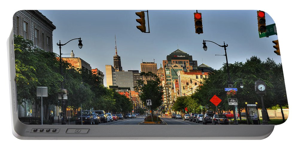 Buffalo Portable Battery Charger featuring the photograph Pearl And Main Street by Michael Frank Jr