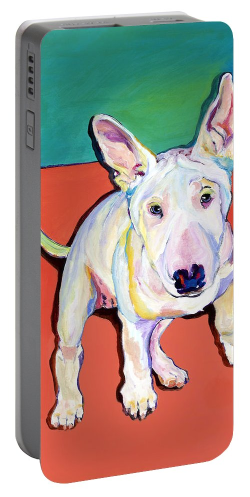 Pet Portrait Commissions Portable Battery Charger featuring the painting Pearl by Pat Saunders-White