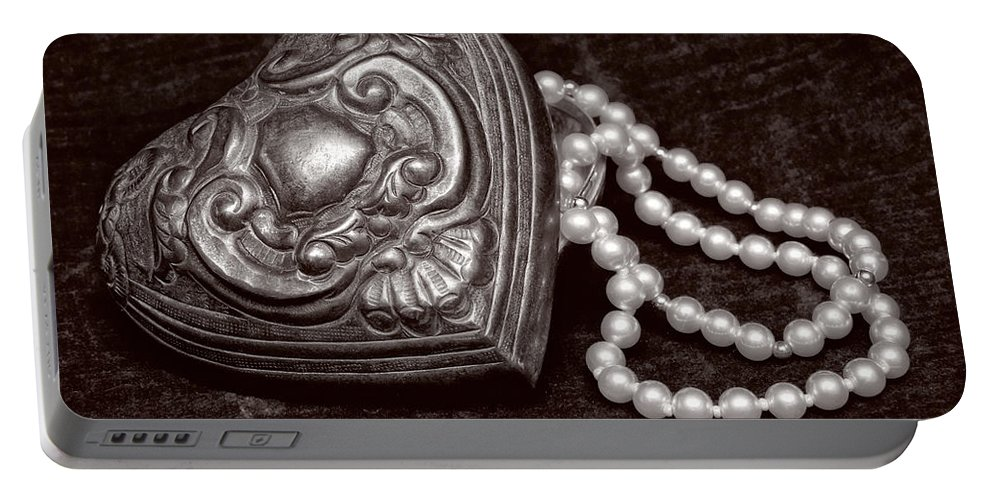 Pewter Portable Battery Charger featuring the photograph Pearls From The Heart - Sepia by Christopher Holmes