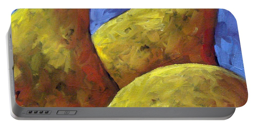 Fruits Portable Battery Charger featuring the painting Pears For You by Richard T Pranke