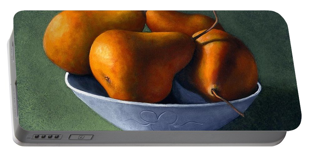 Still Life Portable Battery Charger featuring the painting Pears In Blue Bowl by Frank Wilson