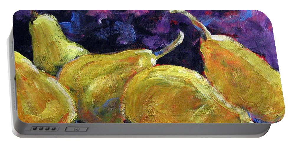 Art Portable Battery Charger featuring the painting Pears Mioummmmmmmmmm by Richard T Pranke