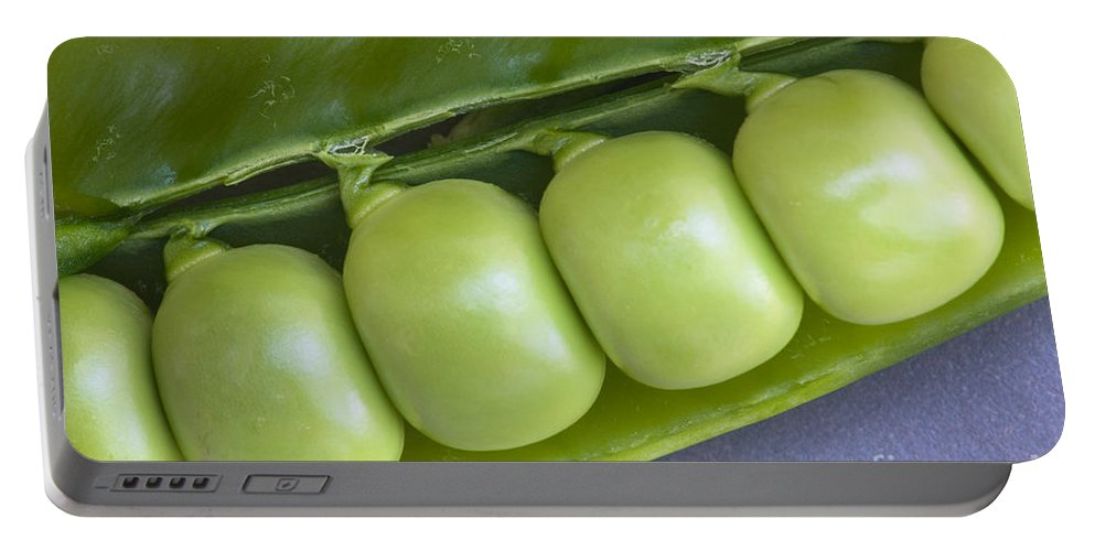 Peas Portable Battery Charger featuring the photograph Peas In Pod by Inga Spence