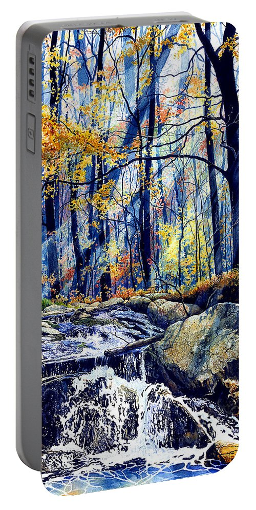 Pebble Creek Autumn Portable Battery Charger featuring the painting Pebble Creek Autumn by Hanne Lore Koehler