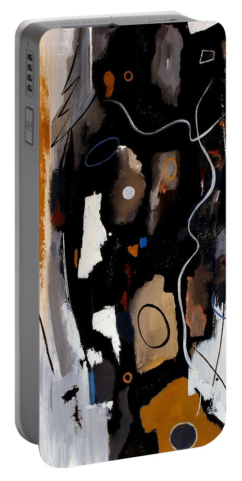 Abstract Portable Battery Charger featuring the painting Pebbles In The Stream by Ruth Palmer