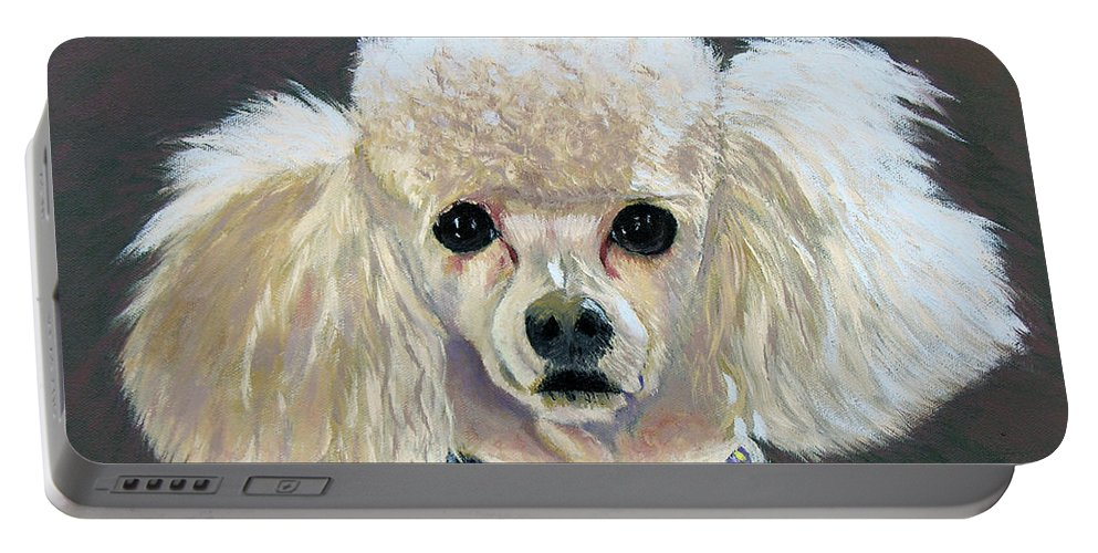 Dog Portable Battery Charger featuring the painting Pebbles by Stan Hamilton