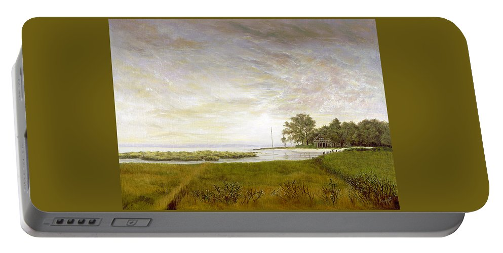 Portable Battery Charger featuring the painting Peconic Sunrise by Tony Scarmato