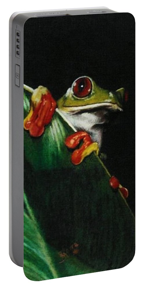 Frog Portable Battery Charger featuring the drawing Peek-a-boo by Barbara Keith