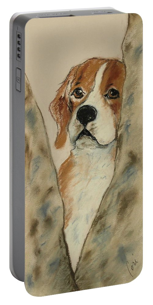 Beagle Portable Battery Charger featuring the drawing Peek A Boo by Cori Solomon