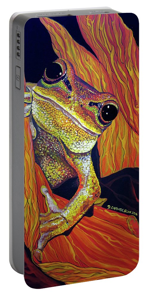 Tree Frog Portable Battery Charger featuring the painting Peek A Boo by Debbie Chamberlin