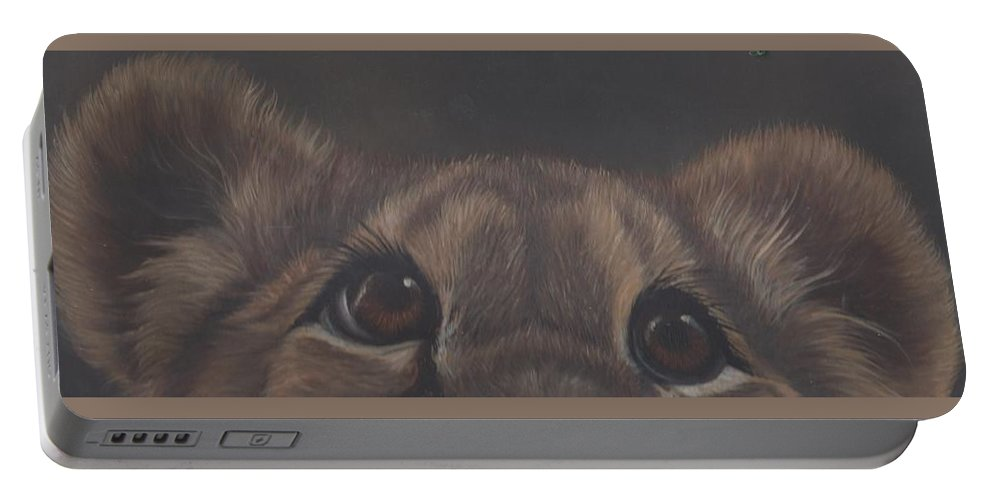 Lion Cub Portable Battery Charger featuring the painting Peek-a-boo by Elizabeth Waitinas