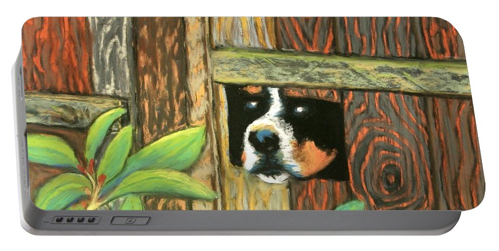 Dog Portable Battery Charger featuring the painting Peek-a-boo Fence by Minaz Jantz
