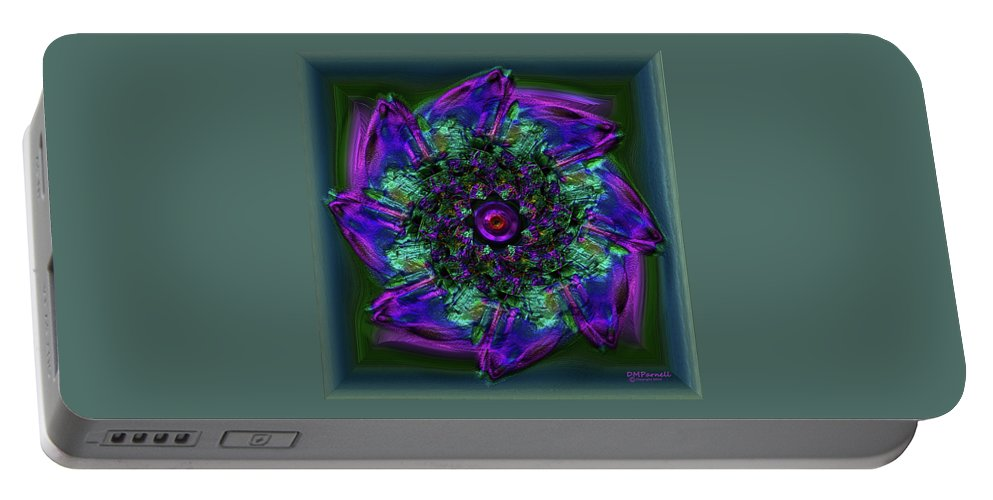 Abstract Portable Battery Charger featuring the digital art Peek by Diane Parnell