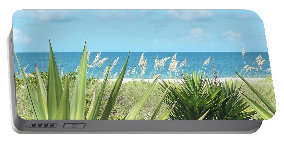 Florida Portable Battery Charger featuring the photograph Peeking Sea by Chris Andruskiewicz