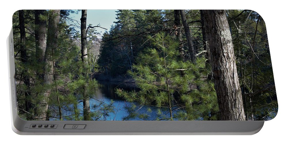 Forest Portable Battery Charger featuring the photograph Peeking Through by Jai Cobino