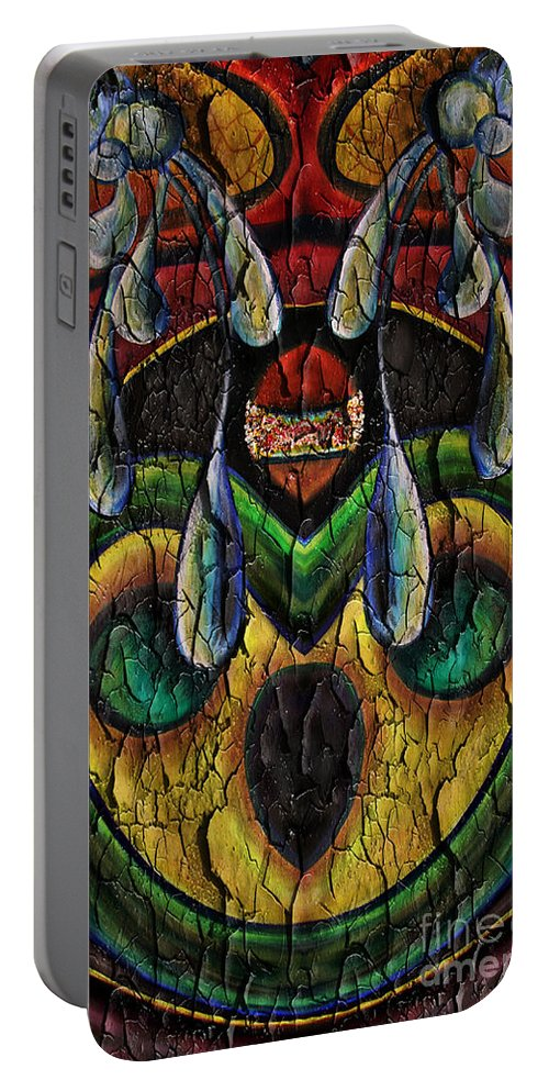 Abstract Portable Battery Charger featuring the painting Peeling Away.. by Jolanta Anna Karolska