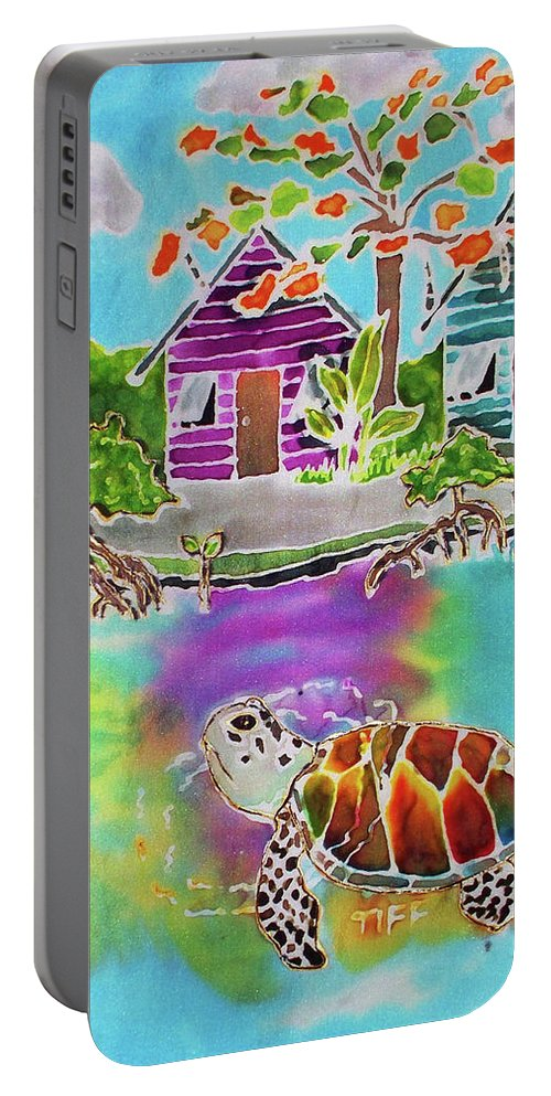 Bahamas Art Portable Battery Charger featuring the painting Peepin Tom by Tiff