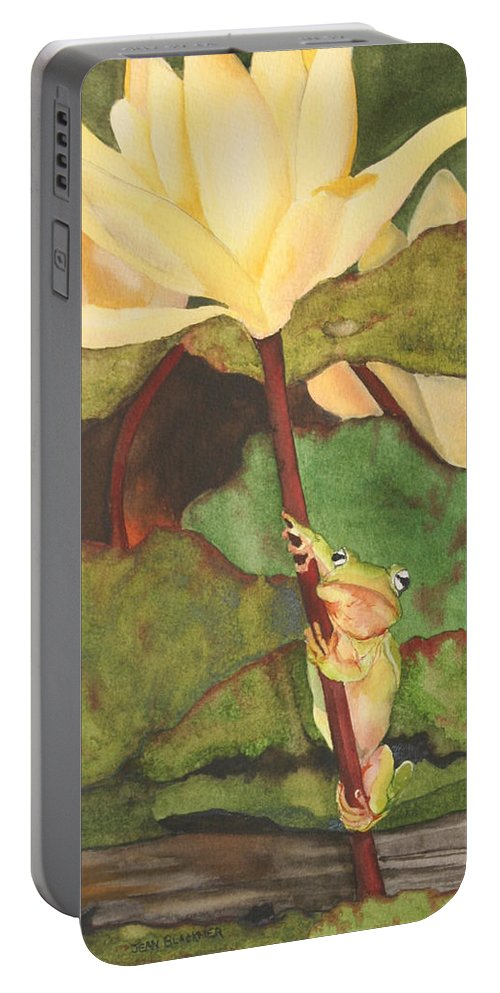 Frog Portable Battery Charger featuring the painting Peeping Tom by Jean Blackmer