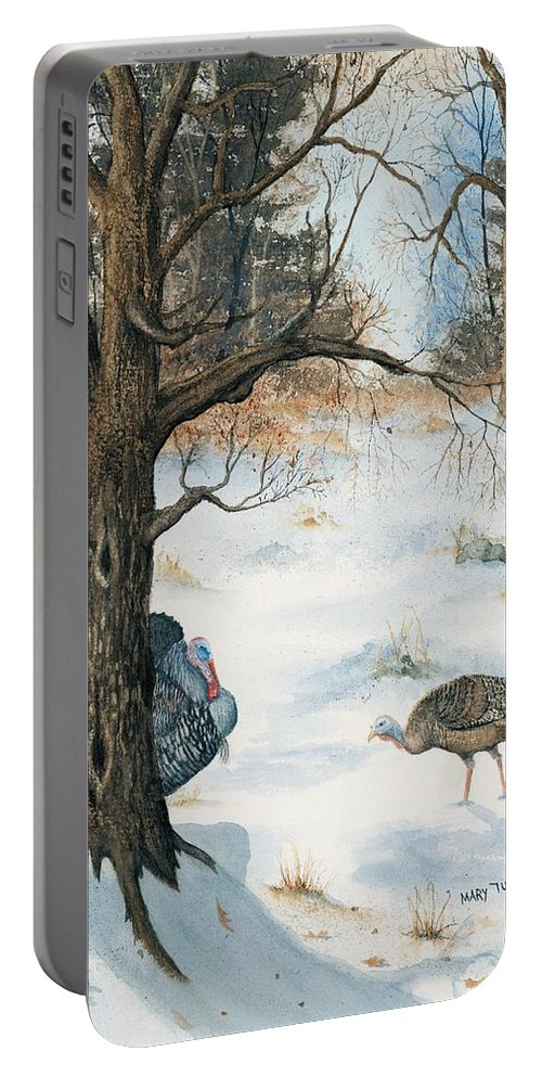 Turkey Portable Battery Charger featuring the painting Peeping Tom by Mary Tuomi