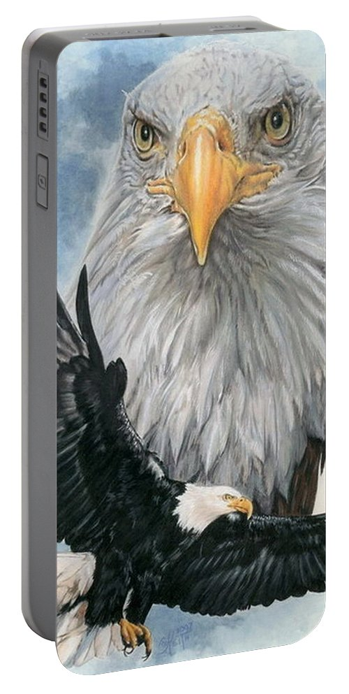 Bald Eagle Portable Battery Charger featuring the mixed media Peerless by Barbara Keith