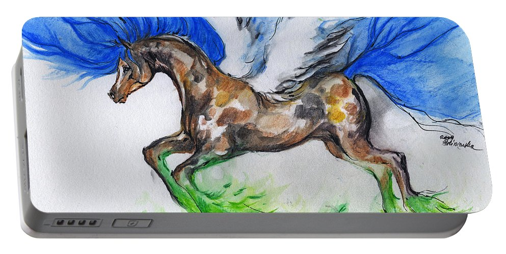 Horse Portable Battery Charger featuring the drawing Pegasus by Angel Ciesniarska