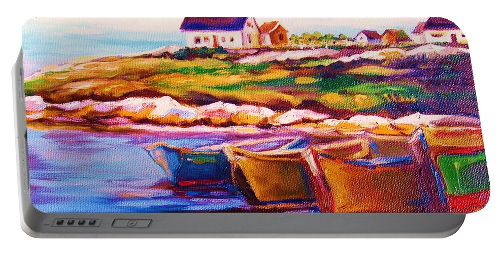 Row Boats Portable Battery Charger featuring the painting Peggys Cove Four Row Boats by Carole Spandau