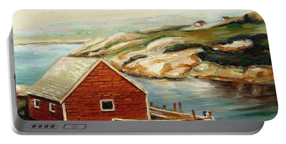 Peggys Cove Portable Battery Charger featuring the painting Peggys Cove Nova Scotia Landmark by Carole Spandau
