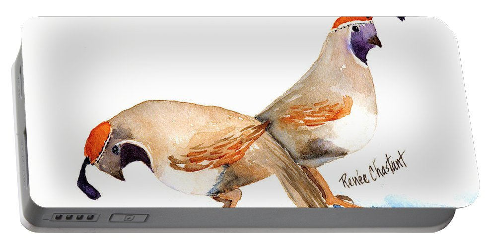 Quail Portable Battery Charger featuring the painting Peggy's Quail by Renee Chastant